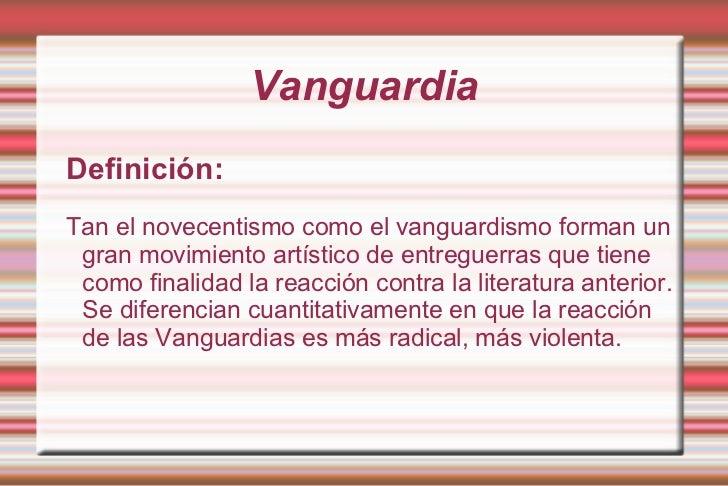 Novecentismo y vanguardismo fin for Cocina vanguardia definicion