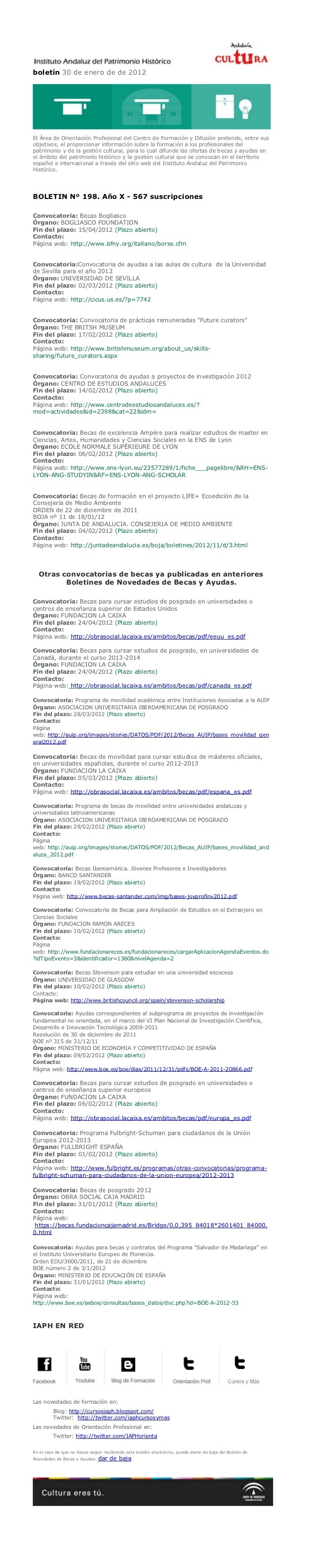 boletín 30 de enero de de 2012El Área de Orientación Profesional del Centro de Formación y Difusión pretende, entre susobj...