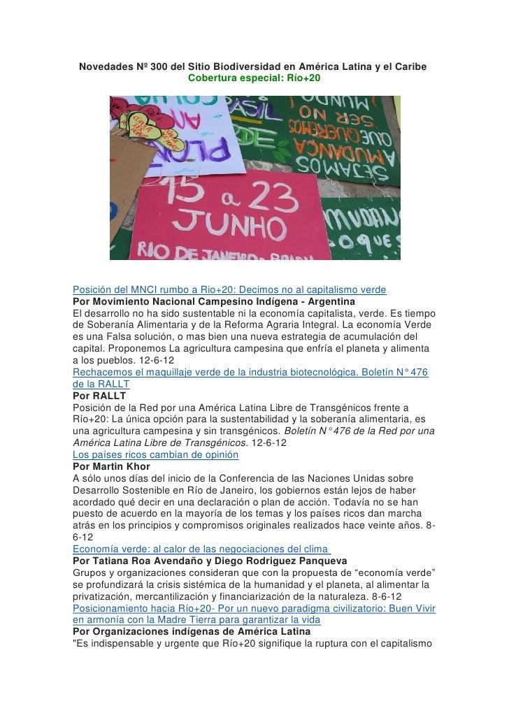 Novedades Nº 300 del Sitio Biodiversidad en América Latina y el Caribe                      Cobertura especial: Río+20Posi...