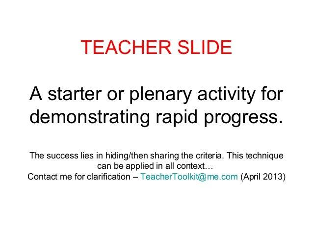 TEACHER SLIDEA starter or plenary activity fordemonstrating rapid progress.The success lies in hiding/then sharing the cri...