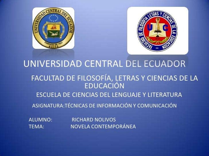 UNIVERSIDAD CENTRAL DEL ECUADOR FACULTAD DE FILOSOFÍA, LETRAS Y CIENCIAS DE LA               EDUCACIÓN   ESCUELA DE CIENCI...