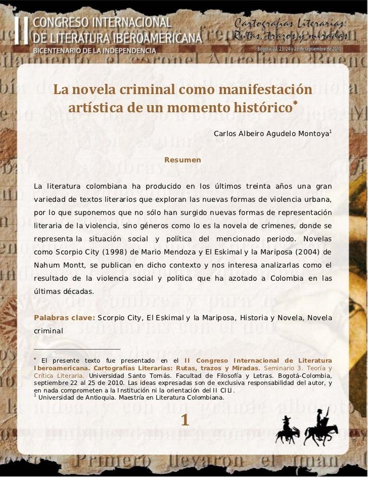 La novela criminal como manifestación        artística de un momento histórico∗                                           ...