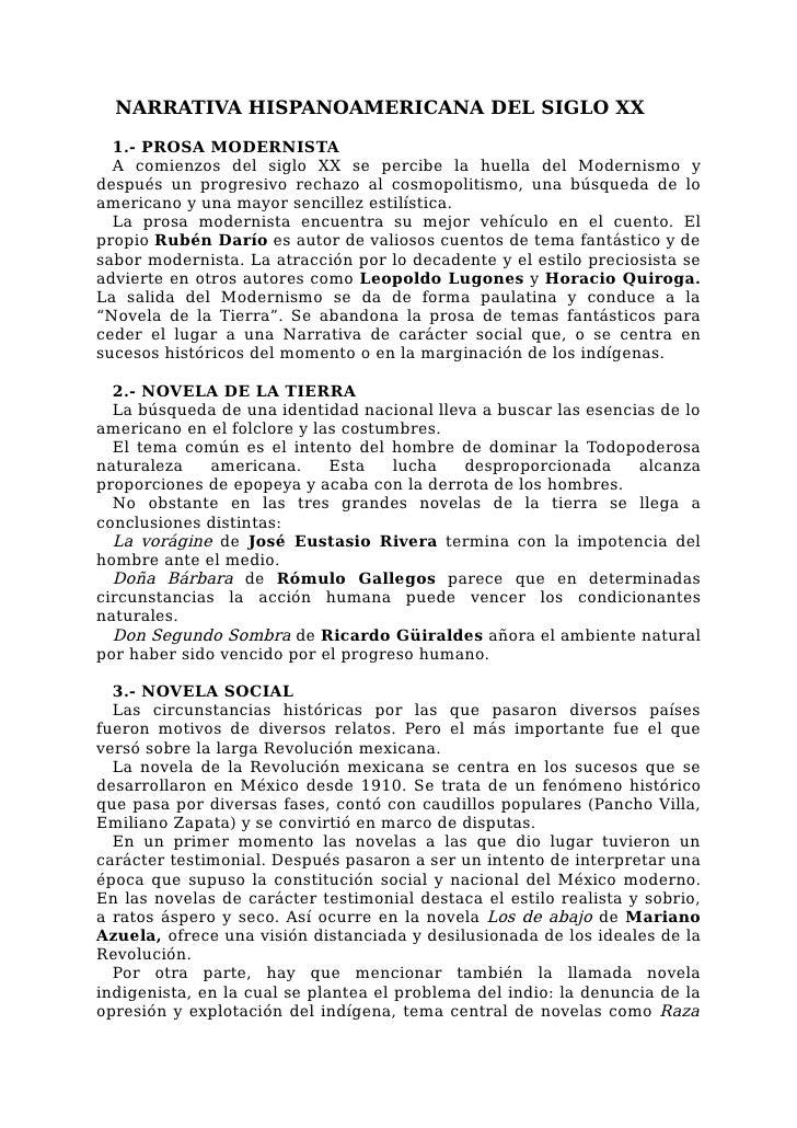 NARRATIVA HISPANOAMERICANA DEL SIGLO XX  1.- PROSA MODERNISTA  A comienzos del siglo XX se percibe la huella del Modernism...
