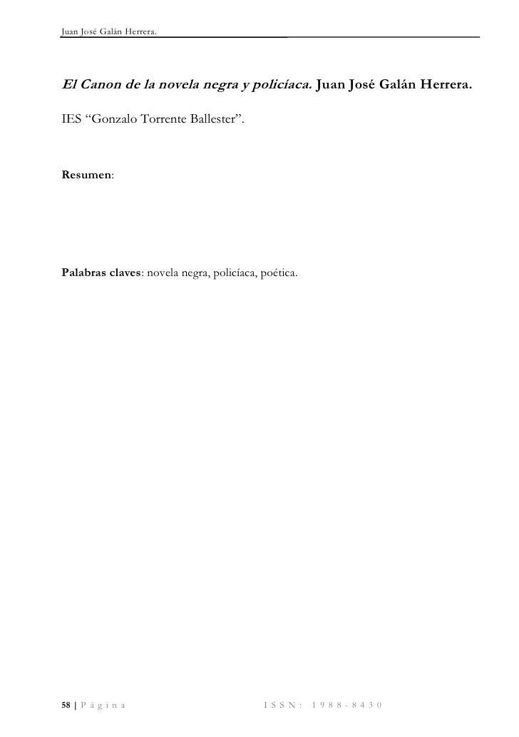 Juan José Galán Herrera.     El Canon de la novela negra y policíaca. Juan José Galán Herrera.  IES ―Gonzalo Torrente Ball...