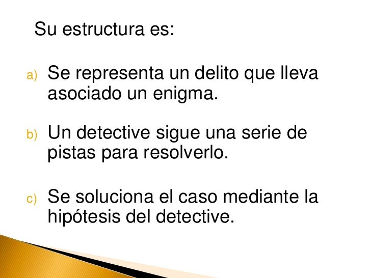 Su estructura es:<br />Se representa un delito que lleva asociado un enigma.<br />Un detective sigue una serie de pistas p...