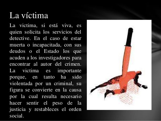 La victima, si está viva, es quien solicita los servicios del detective. En el caso de estar muerta o incapacitada, con su...