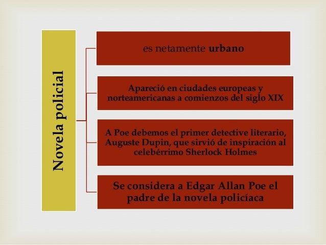 Novelapolicial es netamente urbano Apareció en ciudades europeas y norteamericanas a comienzos del siglo XIX A Poe debemos...