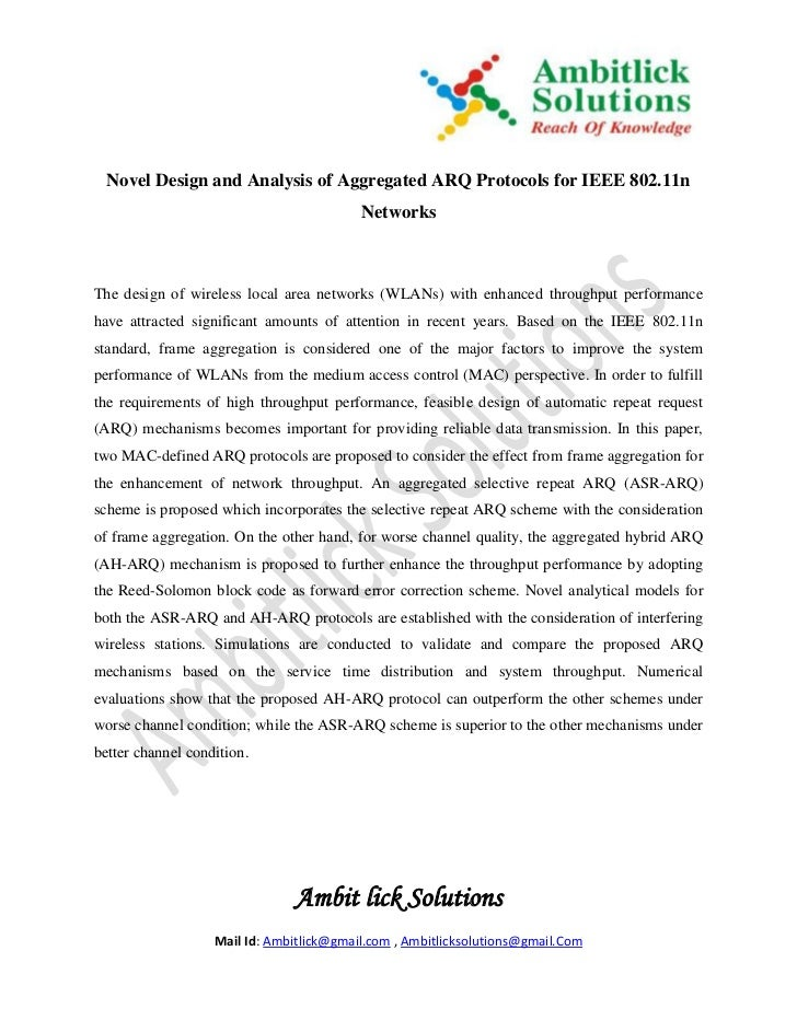 Novel Design and Analysis of Aggregated ARQ Protocols for IEEE 802.11n                                          NetworksTh...