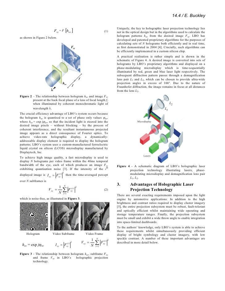 Novel Human Machine Interface (Hmi) Design Enabled By Holographic Laser Projection Slide 2