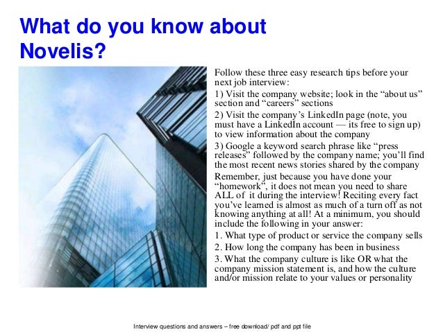 Novelis interview questions and answers