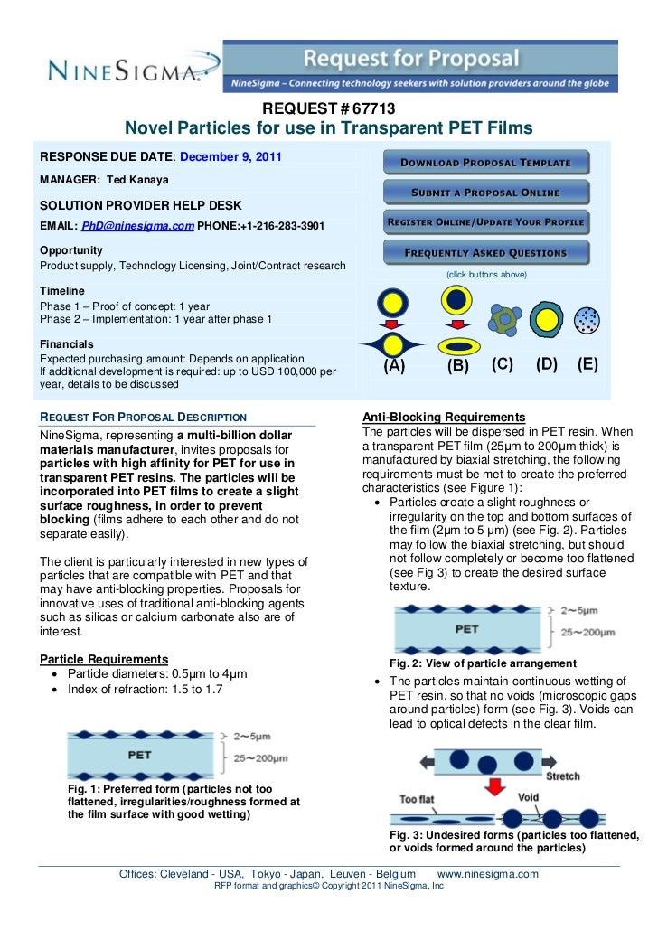 REQUEST # 67713                 Novel Particles for use in Transparent PET FilmsRESPONSE DUE DATE: December 9, 2011MANAGER...