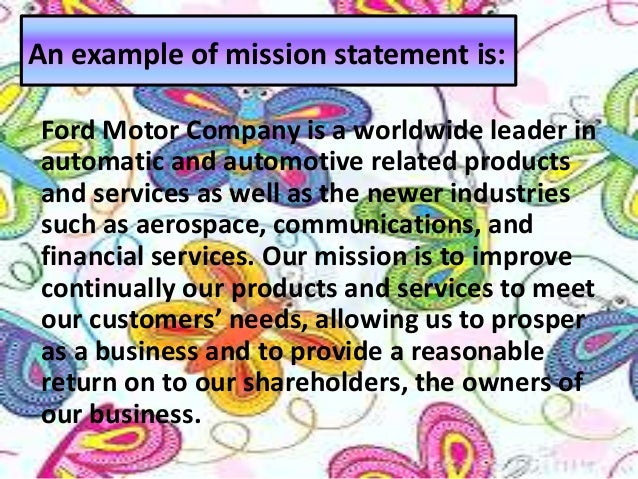 Strategic planning and total qualityimplementation for Ford motor company mission statement