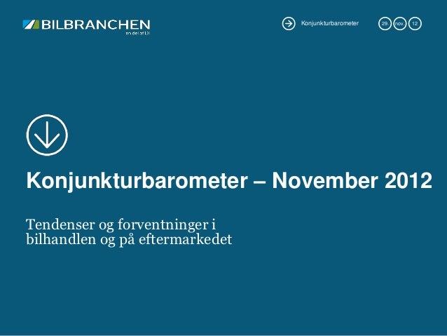 Konjunkturbarometer   29.   nov.   12Konjunkturbarometer – November 2012Tendenser og forventninger ibilhandlen og på efter...