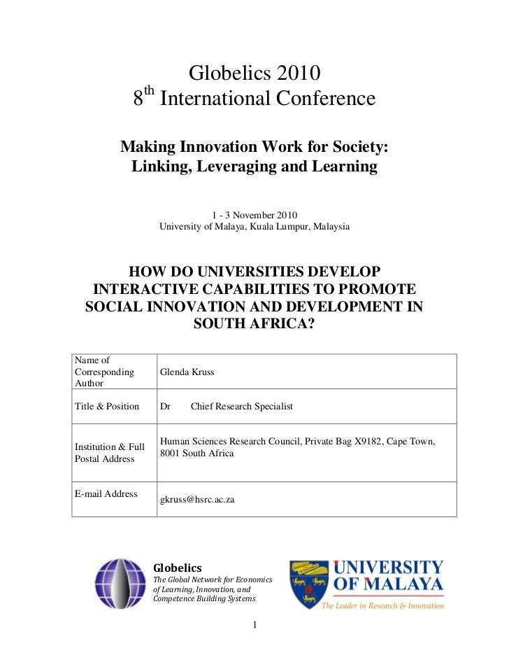 Globelics 2010               8th International Conference           Making Innovation Work for Society:            Linking...