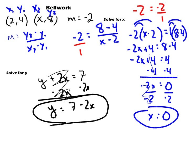 Bellwork  Solve for x  Solve for y
