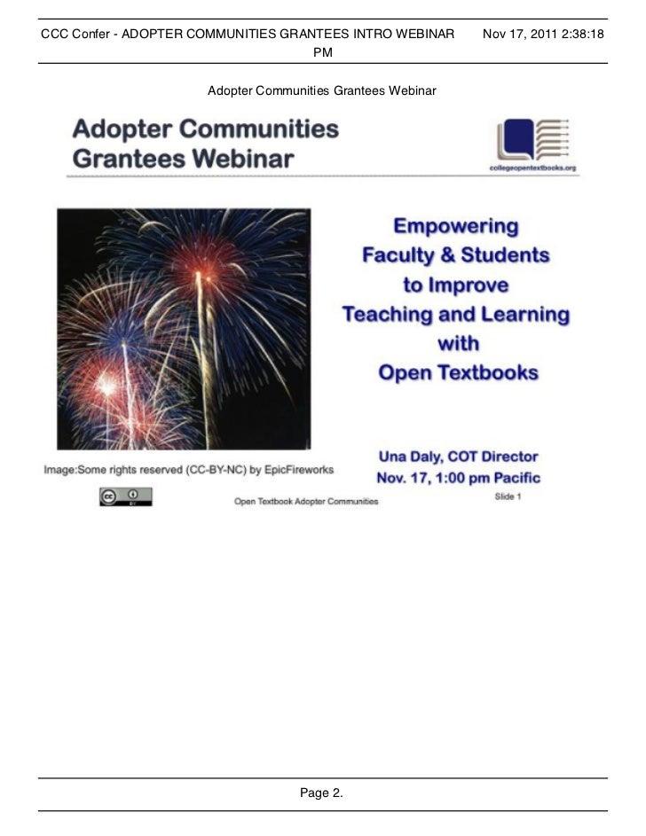 CCC Confer - ADOPTER COMMUNITIES GRANTEES INTRO WEBINAR      Nov 17, 2011 2:38:18                                     PM  ...