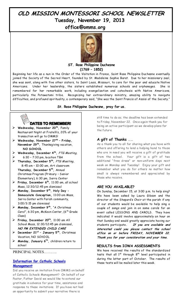 OLD MISSION MONTESSORI SCHOOL NEWSLETTER Tuesday, November 19, 2013 office@omms.org  artin's  ne. T  ST. Rose Philippine D...