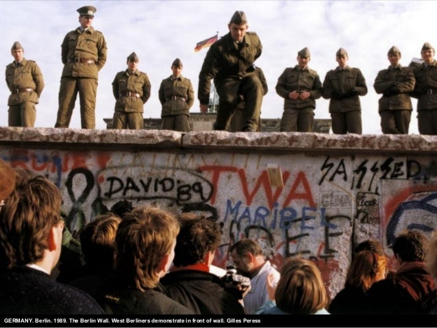 GERMANY. Berlin. 1989. The Berlin Wall. West Berliners demonstrate in front of wall. Gilles Peress