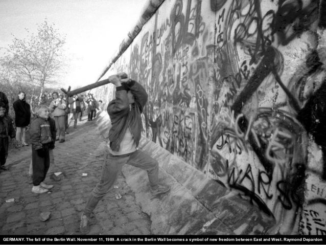 GERMANY. The fall of the Berlin Wall. November 11, 1989. A crack in the Berlin Wall becomes a symbol of new freedom betwee...