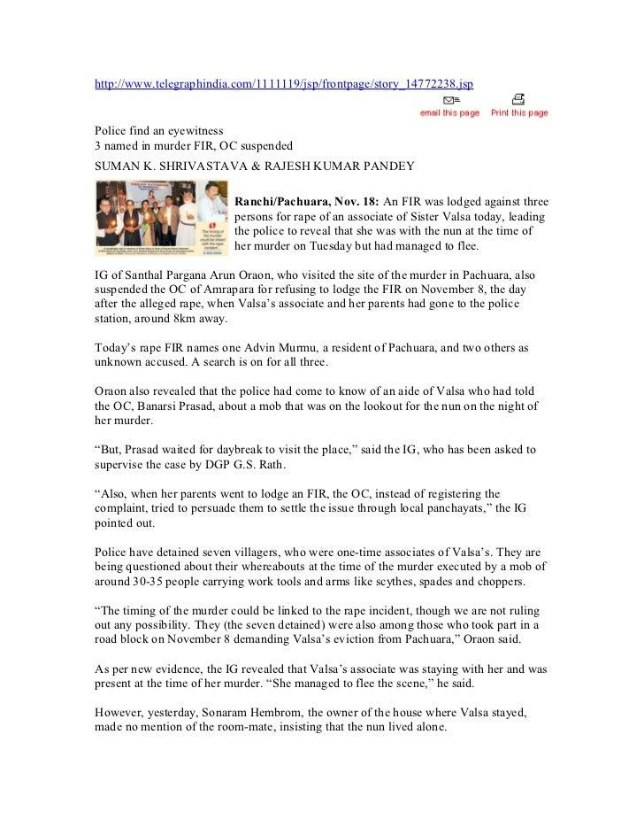 http://www.telegraphindia.com/1111119/jsp/frontpage/story_14772238.jspPolice find an eyewitness3 named in murder FIR, OC s...