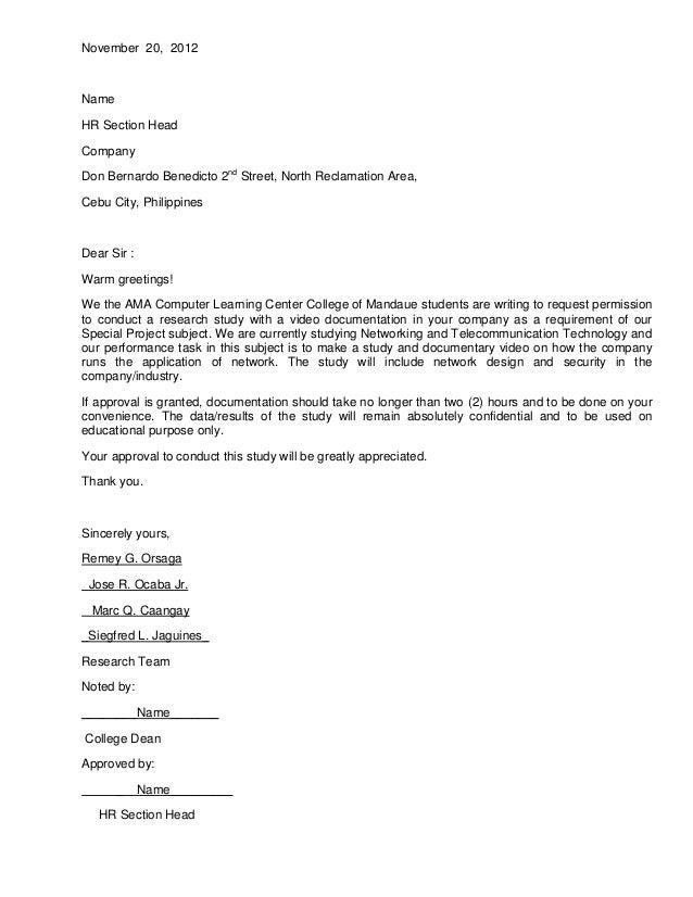 Exceptional November 20, 2012NameHR Section HeadCompanyDon Bernardo Benedicto 2nd  Street, North Reclamation Area,Cebu Authorization Letter