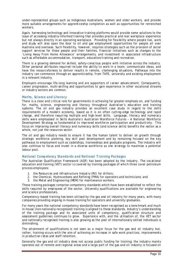 November 2010 ritc gas and oil industry workforce development plan
