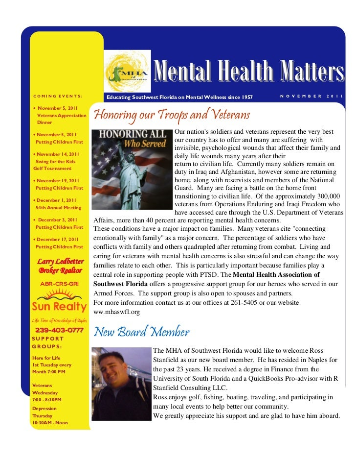 Mental Health MattersCOMING EVENTS:                         Educating Southwest Florida on Mental Wellness since 1957     ...