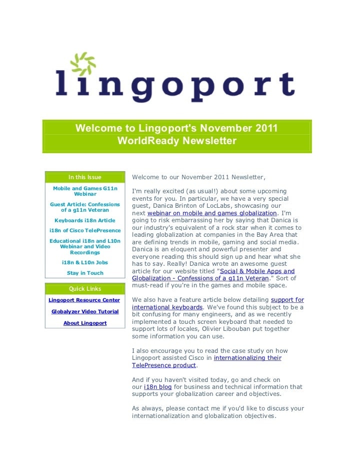 Welcome to Lingoports November 2011               WorldReady Newsletter       In this Issue         Welcome to our Novembe...