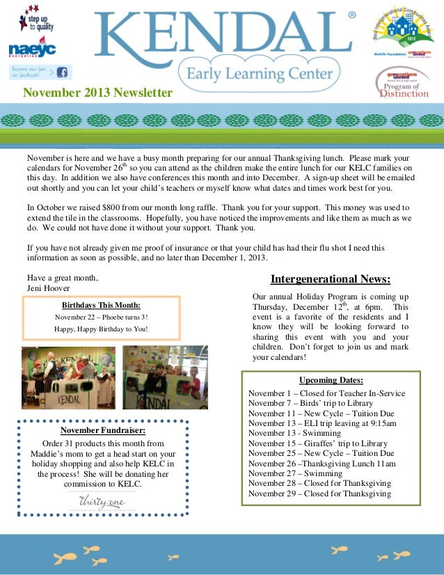 November 2013 Newsletter  November is here and we have a busy month preparing for our annual Thanksgiving lunch. Please ma...
