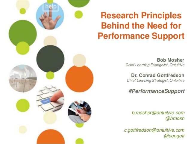 Research Principles Behind the Need for Performance Support Bob Mosher Chief Learning Evangelist, Ontuitive  Dr. Conrad Go...