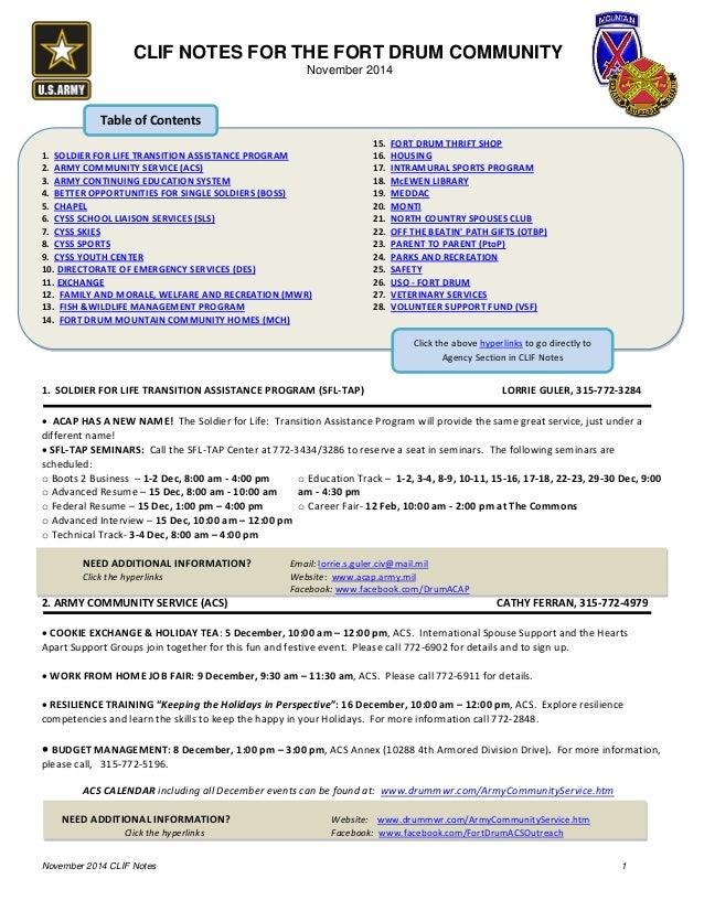 Fort Drum Website >> Clif Notes November 2014