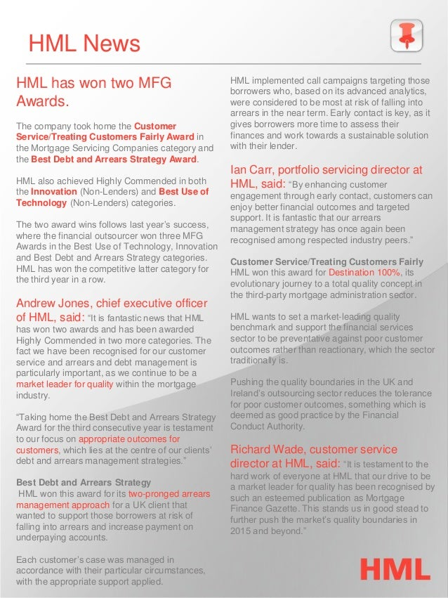 HML News  HML has won two MFG Awards.  The company took home the Customer Service/Treating Customers Fairly Award in the M...
