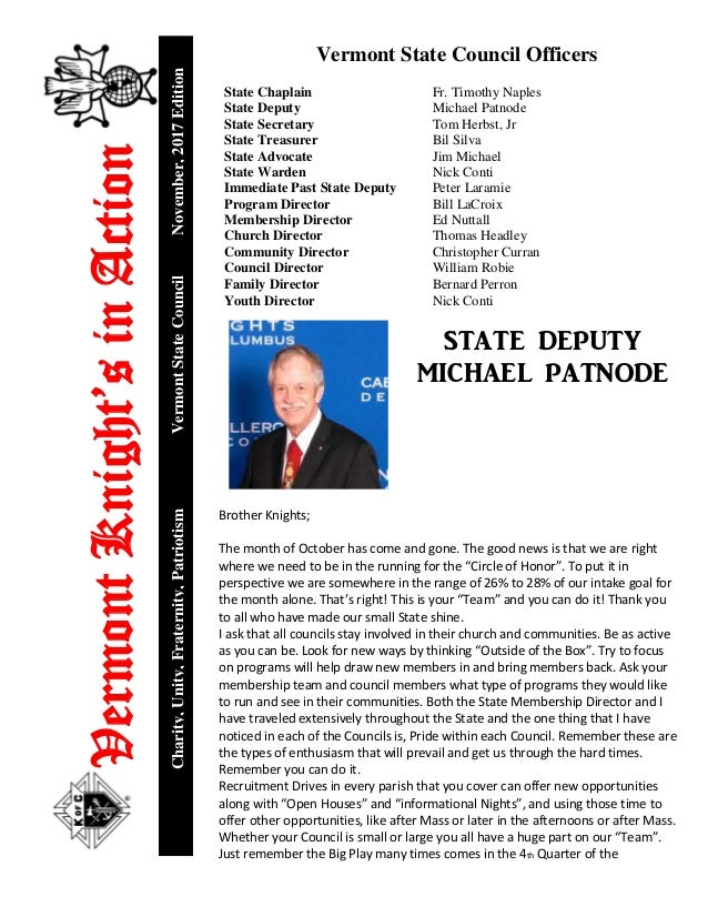 VermontKnight'sinAction Charity,Unity,Fraternity,PatriotismVermontStateCouncilNovember,2017Edition Vermont State Council O...