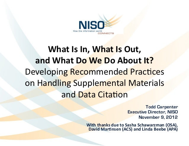 What Is In, What Is Out,     and What Do We Do About It?  Developing Recommended Prac2ce...