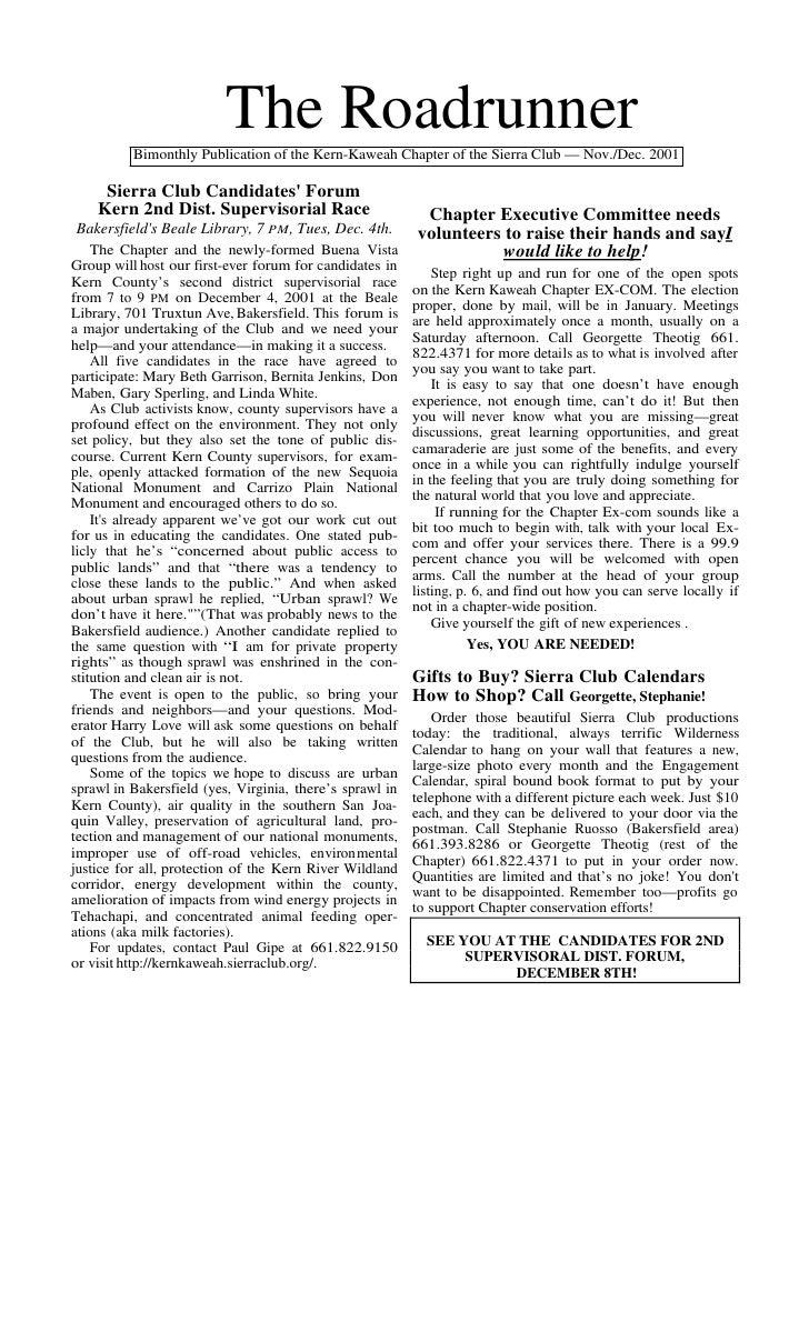 The Roadrunner          Bimonthly Publication of the Kern-Kaweah Chapter of the Sierra Club — Nov./Dec. 2001     Sierra Cl...