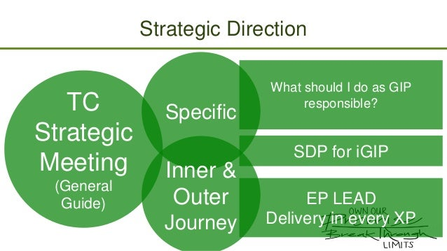 Strategic Direction  TC Strategic Meeting (General Guide)  Specific  What should I do as GIP responsible?  SDP for iGIP  I...