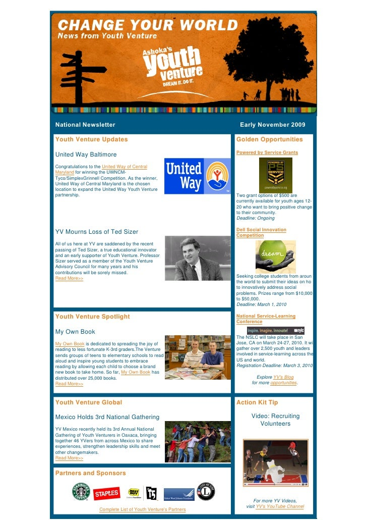 NationalNewsletterEarlyNovember2009  Youth Ventur...