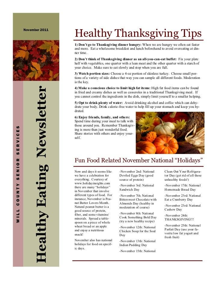 Healthy Thanksgiving Tips                              November 2011                                                      ...