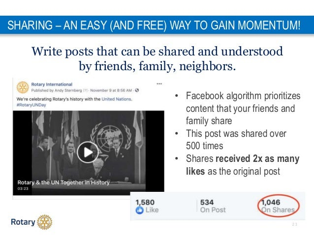 2 3 Write posts that can be shared and understood by friends, family, neighbors. SHARING – AN EASY (AND FREE) WAY TO GAIN ...
