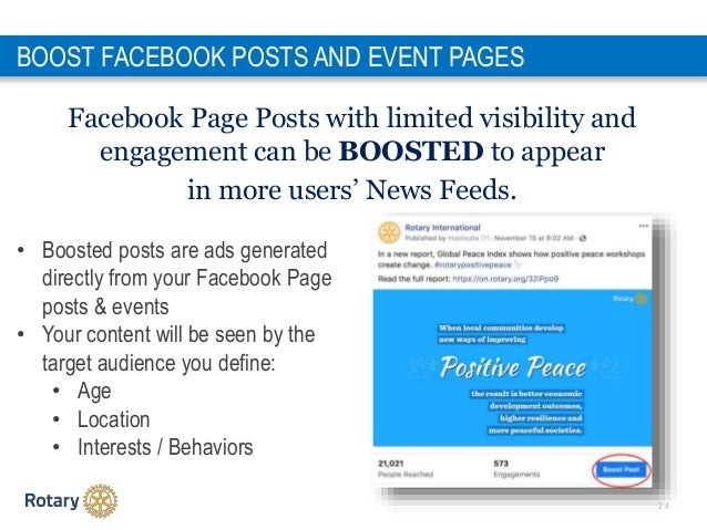 2 4 Facebook Page Posts with limited visibility and engagement can be BOOSTED to appear in more users' News Feeds. BOOST F...