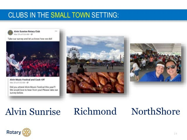 2 9 CLUBS IN THE SMALL TOWN SETTING: Alvin Sunrise Richmond NorthShore