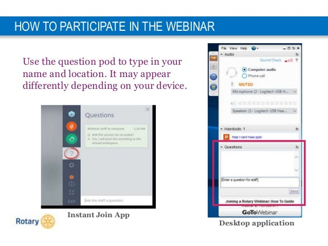 5 HOW TO PARTICIPATE IN THE WEBINAR Use the question pod to type in your name and location. It may appear differently depe...