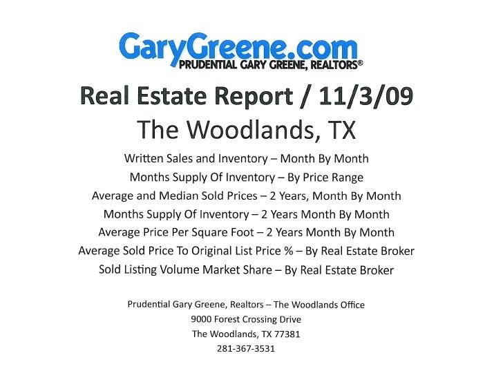 November Real Estate Market Report 2009