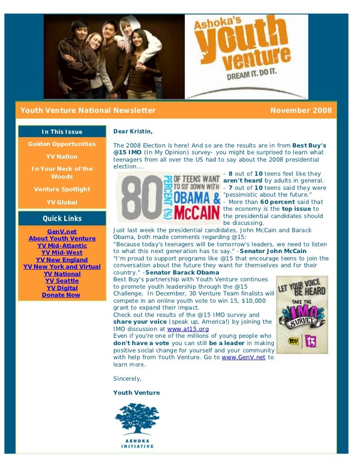 Youth Venture National Newsletter                                              November 2008       In This Issue        De...