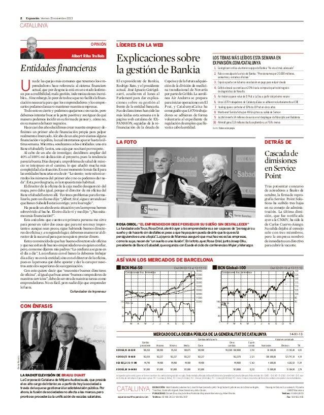 2  Expansión Viernes 15 noviembre 2013  CATALUNYA OPINIÓN Albert Riba Trullols  Entidades financieras na de las quejas más...