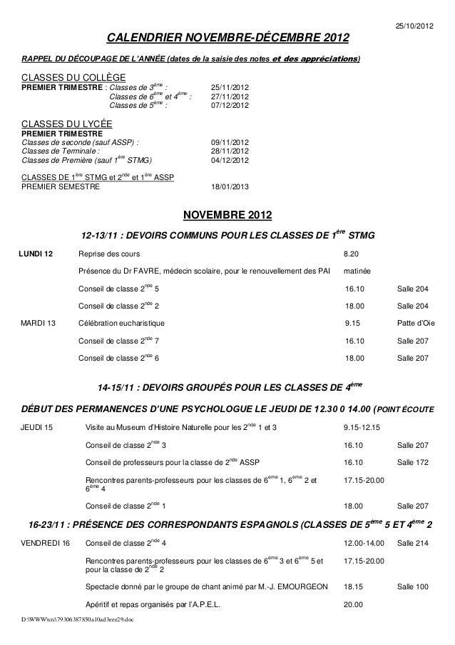 25/10/2012                             CALENDRIER NOVEMBRE-DÉCEMBRE 2012RAPPEL DU DÉCOUPAGE DE L'ANNÉE (dates de la saisie...