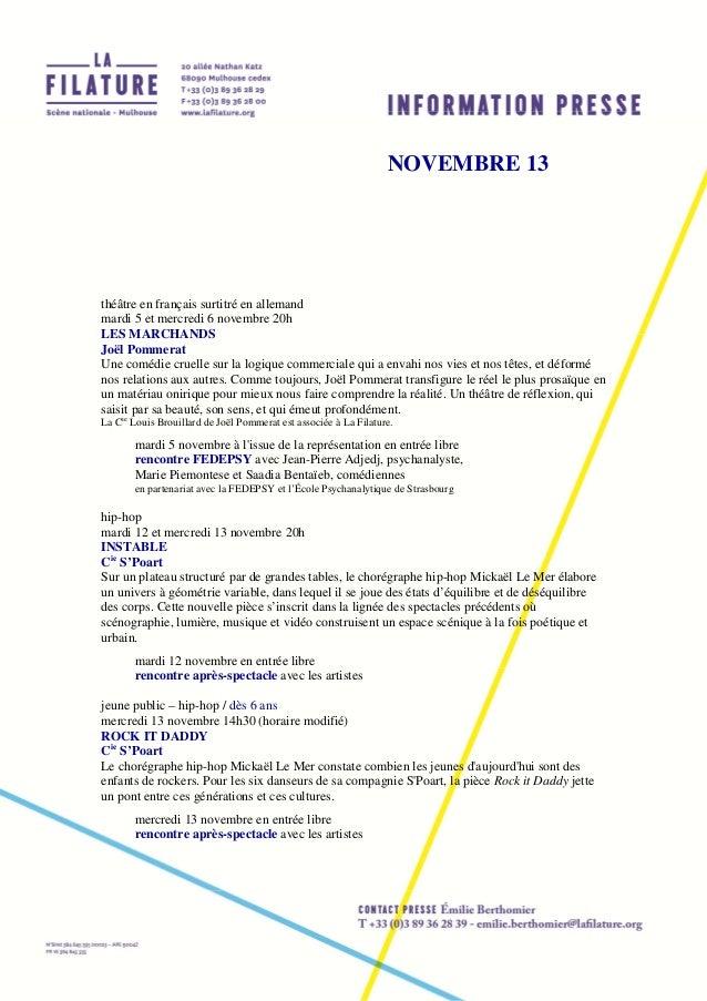 NOVEMBRE 13  théâtre en français surtitré en allemand mardi 5 et mercredi 6 novembre 20h LES MARCHANDS Joël Pommerat Une c...