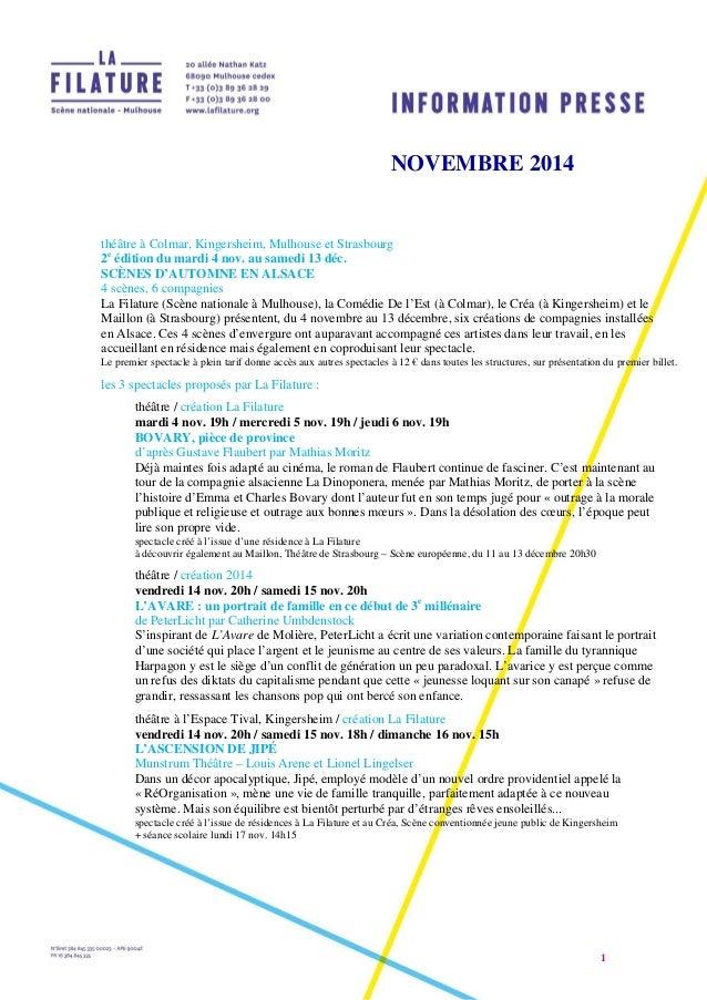 1  NOVEMBRE 2014  théâtre à Colmar, Kingersheim, Mulhouse et Strasbourg  2e édition du mardi 4 nov. au samedi 13 déc.  SCÈ...