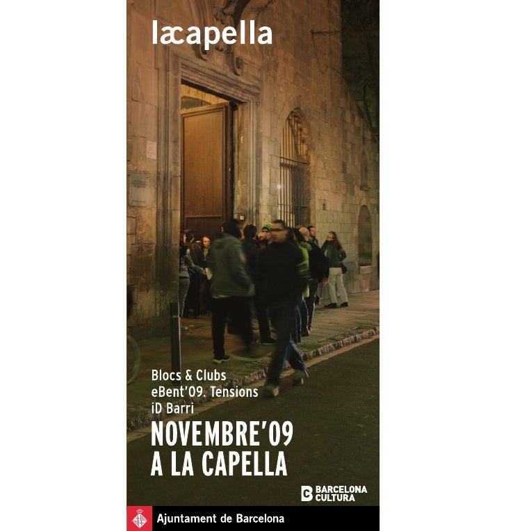 Programa Novembre                                                           Dijous 12 de novembre  a La Capella           ...