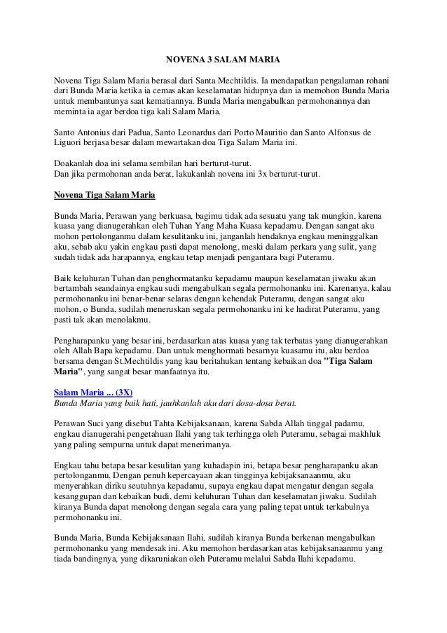 Bacaan novena 3 salam maria pdf
